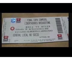 Entradas/boletos Boca River Final Copa Libertadores 2018
