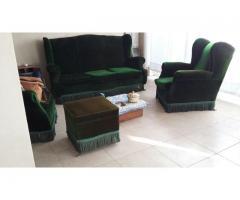 juego de 4 sillones verde ingles en madera y pana