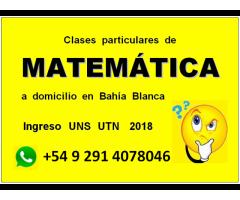 Clases particulares de Matemática Ingreso universitario, a domicilio en Bahía Blanca