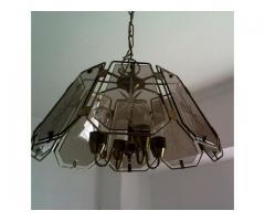 luz de techo, araña de colgar, 4 luces de bronce y vidrio