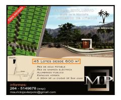 San Juan Zona Turística Lote 650 m2 Financiación