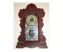 Antiguo Reloj De Pared Ansonia U.s.a. - Madera De Roble
