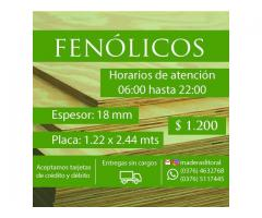 VENDO FENOLICOS DE 18 MM X 1.22 X 2.44 MTS