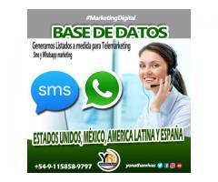 Base de Datos para Telemarketing y Publicidad SMS