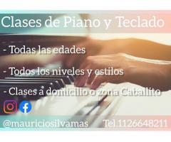 Clases de Piano y teclado a domicilio o zona Caballito
