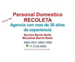 Mucama con Retiro para Recoleta- Agencia mucamas Barrio Norte