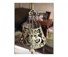 Lampara de bronce maciza de 3 luces, 75cm