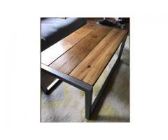 mesa ratona hierro y madera industrial 90x60x45