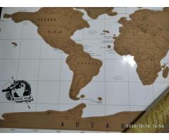 Mapamundi para raspar NUEVO SIN USO