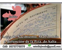 Actas De Nacimiento, Matrimonio Y Defunción De La Pcia. De Salta