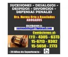 Abogados,despidos,divorcios,desalojos,sucesiones,penal,4305-6373