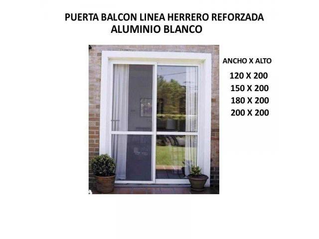 Nuevas puertas balcon aluminio blanco herrero reforzada for Puerta balcon aluminio rosario