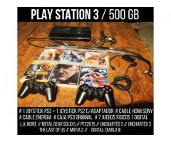 PLAY STATION 3 // 500 GB // 8 JUEGOS // 2 JOYSTICKS