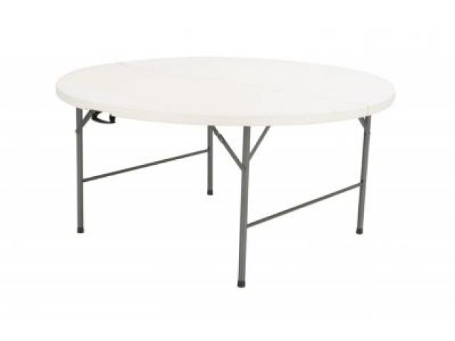 Mesa plegable plastico redonda 120cm camping jardin for Mesa plegable segunda mano