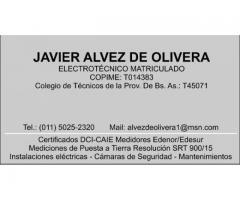 Certificados DCI-CAIE Puesta a Tierra SRT 900/2015 Electricista Matriculado Capital Federal y GBA